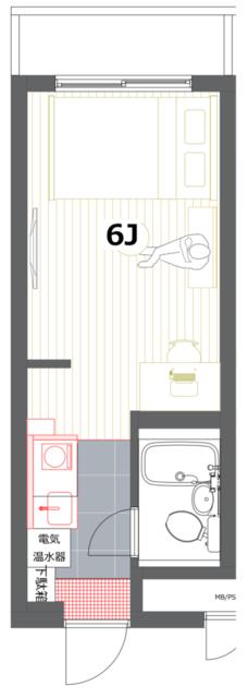 部屋の短い方の壁側にベッドを寄せる「横」に配置するレイアウトだと、こんな感じ。 部屋の手前に大きくスペースが空くので、ソファなど置きたい家具が多い人にはおすすめのレイアウトです。