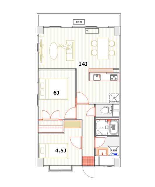 窓に対して横長のLDKの家具レイアウト例