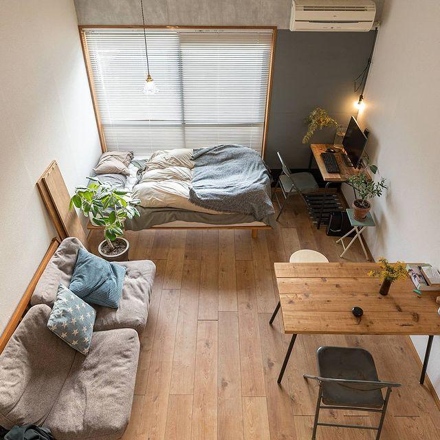 DIYでつくる変化し続ける1K。8畳の一人暮らしインテリア