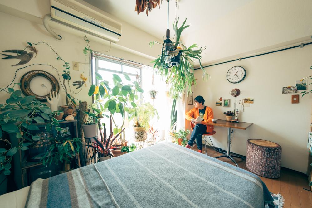 住まいの中では100を超える植物があるSHINPEIさんのお部屋ですが、あくまでその存在はインテリアアイテムの1つという位置づけ。植物を収集して闇雲に置くのではなく、必要な場所に住まいとしての空間が成り立つようにレイアウトや工夫がありました。