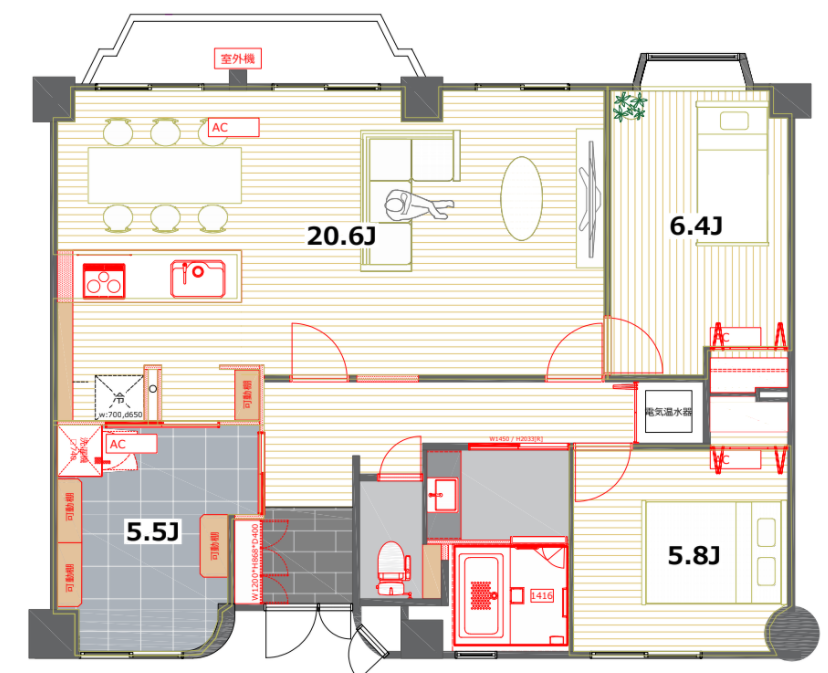 504号室は、84㎡超えの2SLDK。20.6畳の横長LDKが圧巻です。