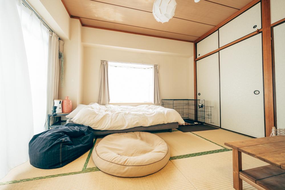 築年数がすこし経った、1DKで愛犬と暮らす方のお部屋。はじめは抵抗のあった和室も、おばあちゃんちにいるような懐かしい雰囲気で落ち着くことができるので、今は気に入っているのだそう。写真手前にあるのは、ワンちゃんお気に入りのベッド「Llbeanのプレミアムデニムドッグベッド」です。