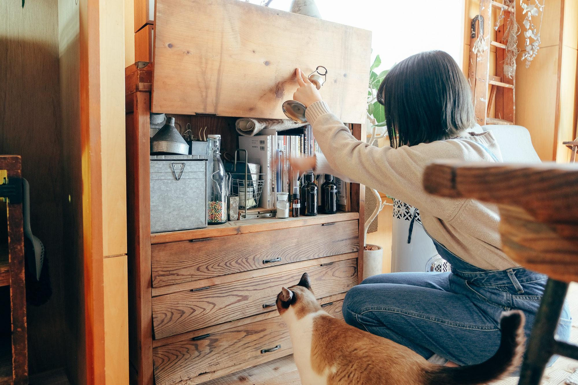 家で過ごす時間が長い職業柄、生活感のあるモノはできるだけ「見せない収納」スタイルで。猫ちゃんのエサなどをしまう古道具は、何度開け閉めしても壊れない、強さが魅力なのだとか。
