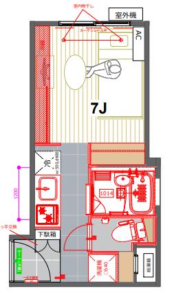 101号室は、18.72㎡のワンルーム。洋室と廊下で床の素材が違うのも特徴的です。