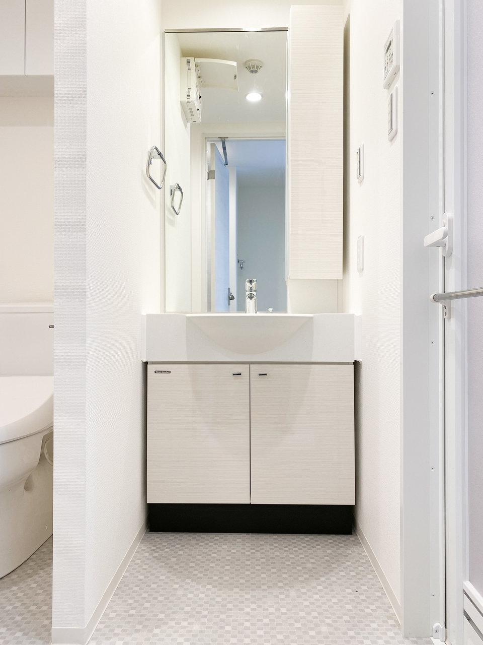 洗面台は大きめ。朝の身支度から夜のスキンケアまでスムーズに行えますね。