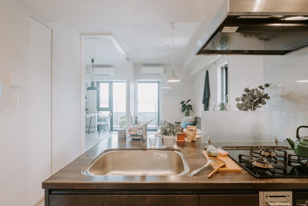 扉を開けるとすぐに、カウンターキッチンがあり、リビングを眺めながら料理ができす設計に。寝室との境になっている引き戸は、全部開けて使用すると、より広々と感じられます。
