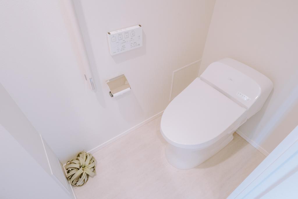 節水機能付きのタンクレストイレ。写真手前にはミニ手洗い場もありました。