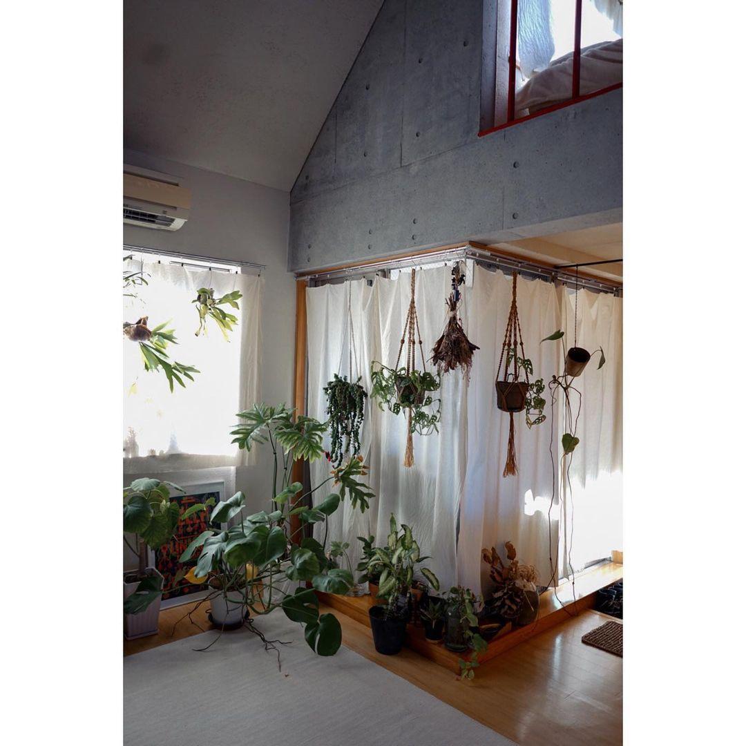 リビングスペースの天井がとても高いのが特徴。上の階は寝室として使われています。