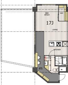 303号室は角部屋に位置し、長細い土間と広いルーフバルコニーが特徴です。