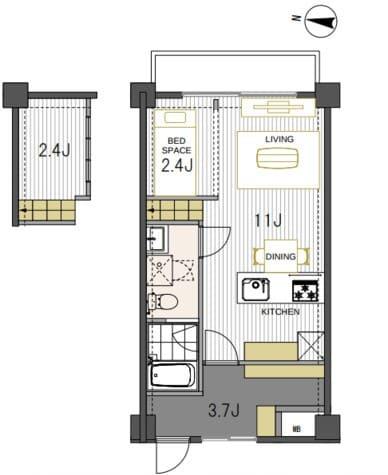 103号室は元々の2DK間取りを大胆に約36㎡のワンルームへ。開放的に使えるお部屋になりました。