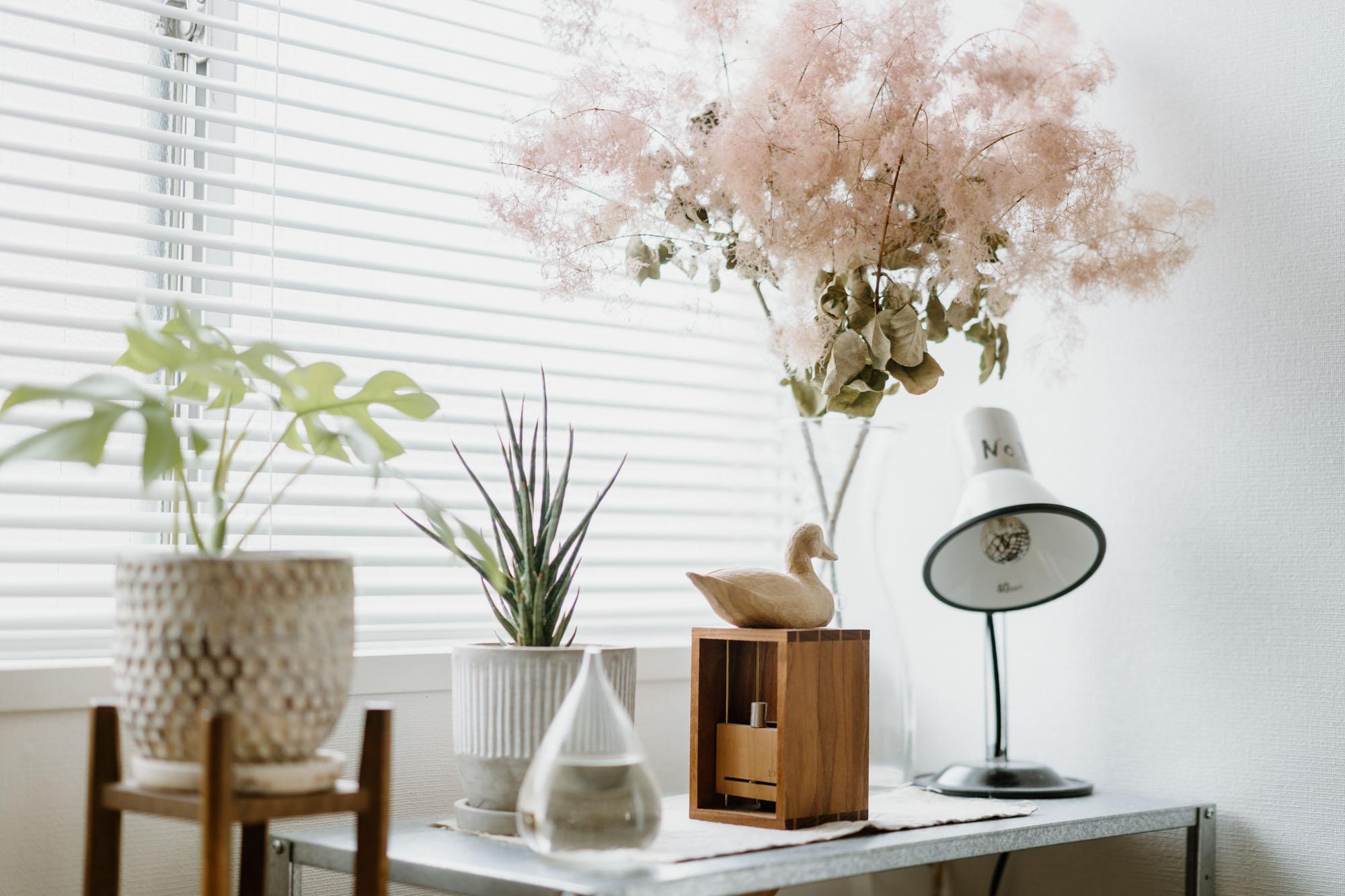 グリーンや、お花もたくさん。棚の上に置かれているのは、自分へのご褒美として購入した、原田和明さんのオートマタ(自動人形)。取手を回すと、鳥が卵を産む仕掛け。