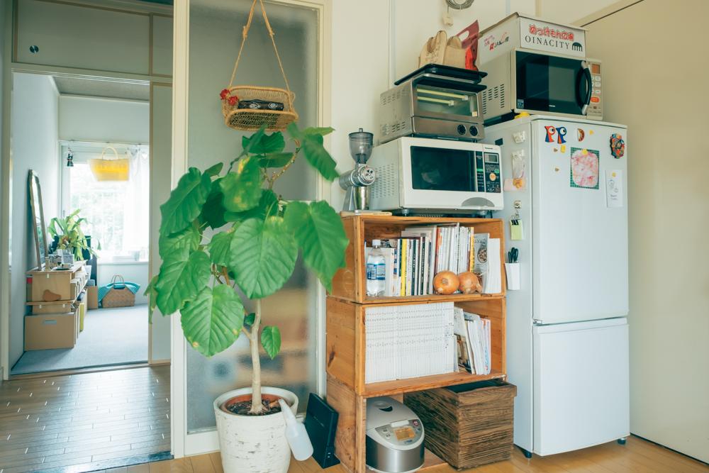 りんご箱を重ねた棚など。あるものを上手に組み合わせて使われているのも印象的でした。